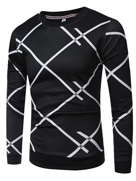Tidebuy Round Neck Long Sleeve Print Men's Slim T-shirt