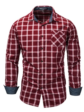 Tidebuy Plaid Lapel Single-Breasted Men's Long Sleeve Shirt