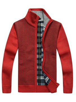 Tidebuy Stand Collar Color Block Zipper Men's Sweater