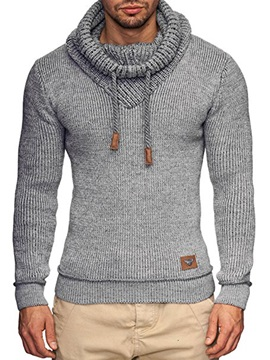 Tidebuy Plain Heap Collar Slim Fit Men's Sweater