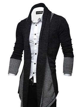 Tidebuy Color Block Cardigan Mid-Length Men's Sweater