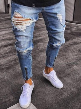 Tidebuy Hole Zipper Fashion Men's Slim Fit Jeans