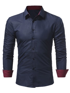 Tidebuy Lapel Plain Single-Breasted Slim Men's Shirt