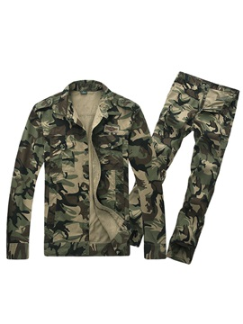 Tidebuy Lapel Camouflage Men's Sports Outfits
