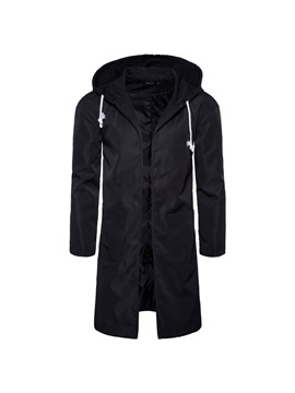 Tidebuy Hooded Windproof Men's Long Trench Coat
