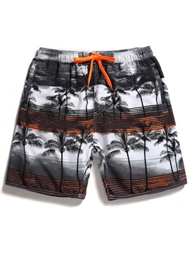 Tidebuy Coconut Tree Print Men's Beach Board Shorts