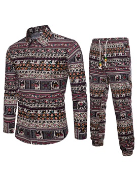 Tidebuy Two Piece Ethnic Style Men's Long Sleeve Suit