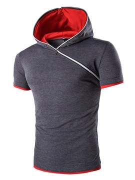 Tidebuy Inclined Zipper Hooded Men's Short Sleeve T-Shirt