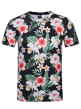 Tidebuy Summer Floral Print Men's Short Sleeve T-Shirt