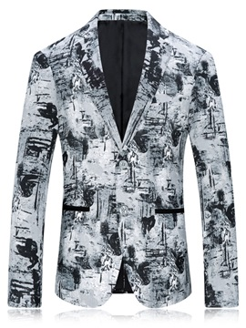 Tidebuy England Style Print Two Button Men's Blazer