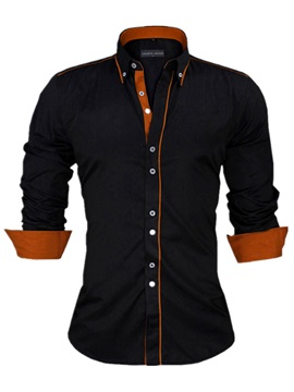 Tidebuy Lapel Color Block Single-Breasted Men's Shirt