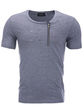 Tidebuy Stylish Hole Zipper Men's Slim T-Shirt