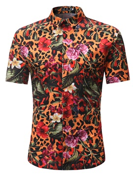 Tidebuy Colorful Floral Print Men's Short Sleeve Shirt