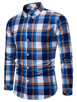 Tidebuy Lapel Color Block Plaid Men's Casual Shirt