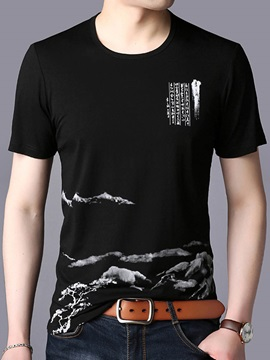 Tidebuy Round Neck Simple Print Men's Slim T-Shirt