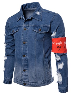 Tidebuy Hole Patchwork Single-Breasted Men's Denim Jacket