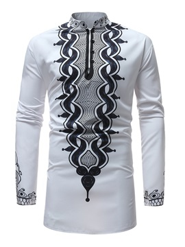 African Fashion Dashiki Print White Men's Long Sleeve Shirt