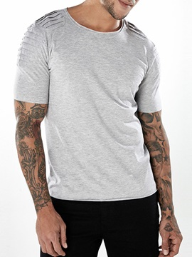 Tidebuy Plain Pleated Summer Short Sleeve Men's T-Shirt