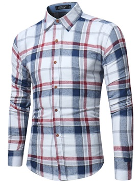 Tidebuy Color Block Plaid Men's Lapel Casual Shirt