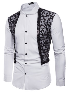Tidebuy Lace Patchwork Men's Slim Dress Shirt