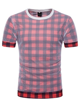 Tidebuy Color Block Plaid Men's Short Sleeve T-Shirt