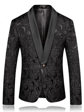 Tidebuy Floral One Button Men's Black Blazer