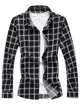 Tidebuy Color Block Plaid Men's Lapel Shirt