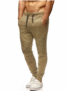 Tidebuy Plain Lace-Up Pleated Men's Sports Pants