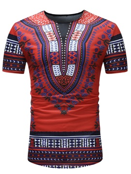 Tidebuy Red Dashiki African Print Men's Casual T-Shirt