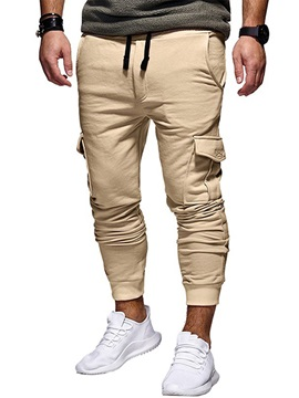 Tidebuy Plain Lace-Up Straight Men's Casual Pant
