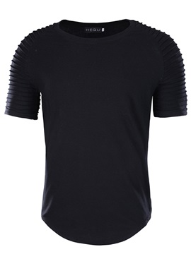 Tidebuy Pleated Black Men's Short Sleeve T-Shirt