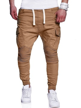 Tidebuy Plain Lace-Up Pocket Straight Men's Casual Pants