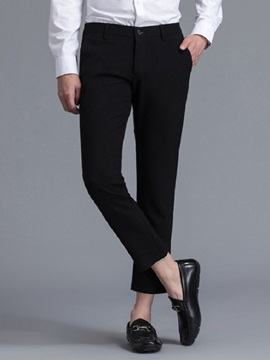 Tidebuy Plain Straight Ankle Length Men's Casual Pants