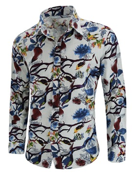 Tidebuy Chinese Bird Floral Print Men's Casual Shirt