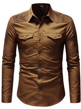 Fashion Plain Pleated Men's Casual Shirt