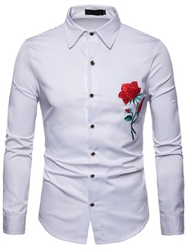 Plain Rose Embroidery Men's Dress Shirt