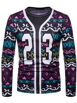 Geometric Number Print Men's Long Sleeve T-Shirt