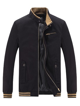 Stand Collar Plain Zipper Pocket Men's Jacket