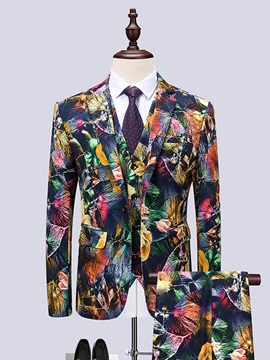 Floral Print Blazer Vest Pants Men's Stylish Suit