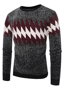 Color Block Patchwork Long Sleeve Men's Pullover Sweater