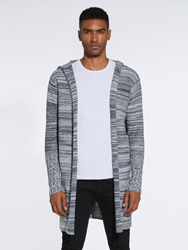 Hooded Mid-Length Men's Casual Cardigan Sweater