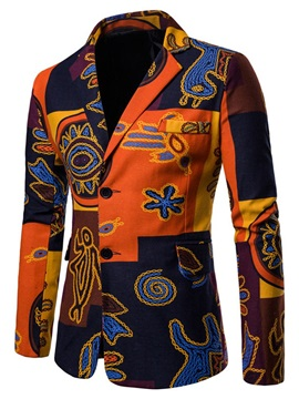 Color Block Ethnic Style Men's Stylish Blazer