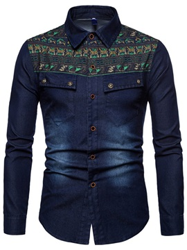 Ethnic Pattern Patchwork Men's Casual Denim Shirt