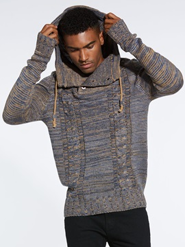 Hooded Lace-Up Plain Men's Pullover Sweater