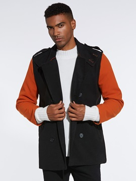 Color Block  Double-Breasted Men's Trench Coat