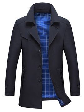 Plain Lapel Single-Breasted Men's Casual Trench Coat