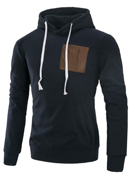 Patchwork Plain Hooded Lace-Up Men's Casual Hoodie