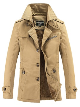 Fleece Plain Lapel Single-Breasted Men's Warm Coat