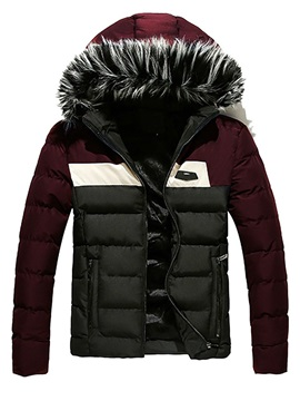 Fur Hooded Color Block Patchwork Men's Down Coat