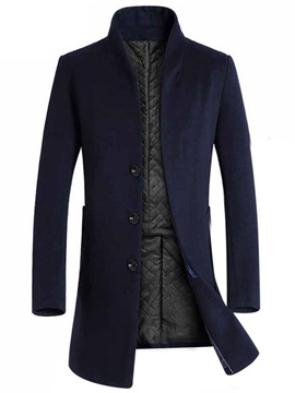 Stand Collar Plain Single-Breasted Men's Warm Coat